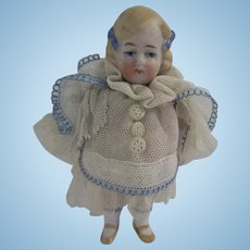 Precious Antique German All Bisque Girl with Darling Tulle Dress