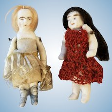 Two Darling Tiny German Antique All Bisque Dolls