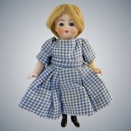 """Stunning 5-1/2""""  Antique All Bisque Doll with Cobalt Blue Eyes"""