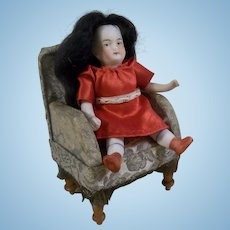 """Sweet 3-3/4"""" Antique German All Bisque Dollhouse Doll in Red Dress"""