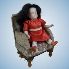 "Sweet 3-3/4"" Antique German All Bisque Dollhouse Doll in Red Dress"