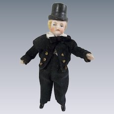 """Handsome 3-7/8"""" All Bisque Doll with Molded Top Hat wearing Tuxedo with Tails"""