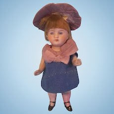 "Precious 4-1/4"" All Bisque German Doll in Mommy Made Dress and Hat"