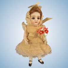 """Beautiful 5-3/4"""" All Bisque German Doll with Cobalt Blue Eyes - Layaway Available!"""