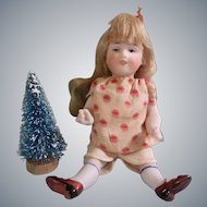 """Antique All Bisque 5"""" Kestner 160 with Toothy Grin and Little Christmas Tree"""