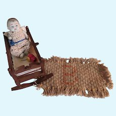 "Darling Antique 3"" All Bisque Baby in Vintage Cradle with Rug and Toy"