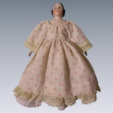 """Beautiful Antique 6"""" Pink Tint Covered Wagon China Head Doll"""