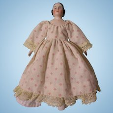 "Beautiful Antique 6"" Pink Tint Covered Wagon China Head Doll"