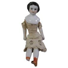 "Sweet 4"" Antique China Head Dollhouse Doll Needs TLC"