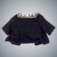 Antique Ethnic Black Wool Short Sleeve Doll Top