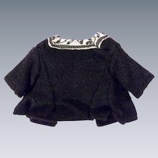Antique Ethnic Black Wool Short Sleeve Doll Top