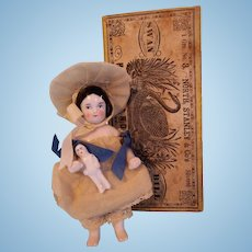 FABULOUS Antique Pink Tint Frozen Charlotte Doll with Teeny Tiny Frozen Baby in Antique Box