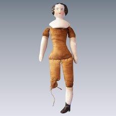 Precious Antique Flat Top China Head Dollhouse Doll - TLC