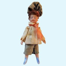 Antique French All Bisque Lilliputian Boy Doll in All Original Costume c1915