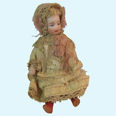 Antique French All Bisque Lilliputian Doll in All Original Costume c1915