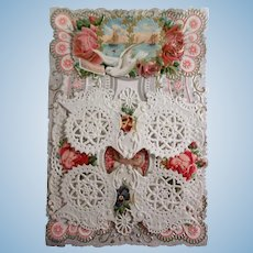 Beautiful Antique Victorian Paper Lace Valentine's Day Card with Poem