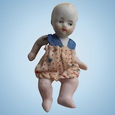 Sweetest German Antique All Bisque Baby in Cute Romper