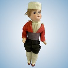 "Handsome Factory Original Antique French 6-1/2"" Bisque Head Boy Doll"