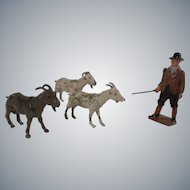 Vintage Goat Herder with 3 Goats