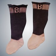"Pari of Antique Burson ""B"" Socks for your Special Doll"