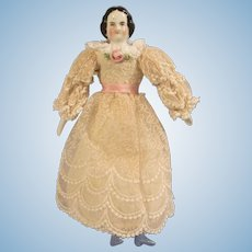 """Wonderful 6-1/4"""" Antique High Brow China Head Dollhouse Doll in Lace Dress"""