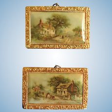 A Pair of Convex Celluloid Landscape Pictures in Ormolu Frames