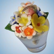 Wonderful Vintage Czech Glass Flowers in Flower Pot