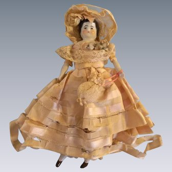 "Wonderful All Original 6"" Antique China Head Dollhouse with melting Dress"