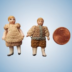 Teeny Tiny All Bisque Miniature Doll Couple in Crocheted Outfits c1910