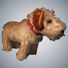 Wonderful Vintage Dog with Red Leather Collar for Large Bisque Head Doll