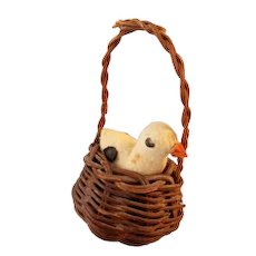 Wonderful Vintage Basket with Spun Cotton Easter Duck c1930s