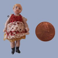 Precious Sweet Face Teeny Tiny Carl Horn Girl in Red Dress with Apron c1910