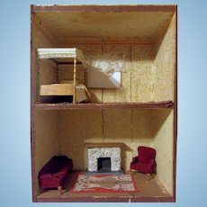 Wonderful Primitive 2 Room Antique Dollhouse Soap Box House with Vintage Furniture