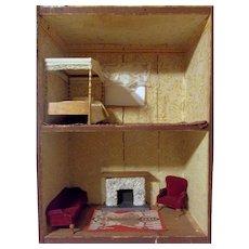 Wonderful Primitive 2 Room Antique Dollhouse Soap Box House with Vintage Furniture