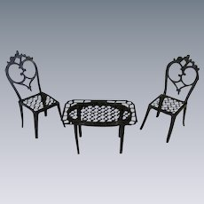 Antique Metal Dollhouse Table and Chair Set