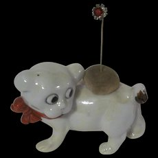 Adorable Porcelain Dog Stick Pin or Hat Pin Holder Made in Japan