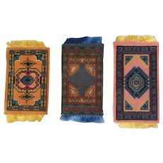 3 Antique Dollhouse Rugs for your Doll House - Red Tag Sale Item