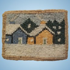 Beautiful Vintage Cheticamp Hand Hooked Doll House Rug with Houses