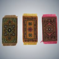 3 Small Beautiful Antique Oriental Design Dollhouse Rugs c1910