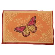Pretty Pink Antique Large Dollhouse Rug with Butterfly c1910 - Red Tag Sale Item