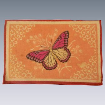 Pretty Pink Antique Large Dollhouse Rug with Butterfly c1910