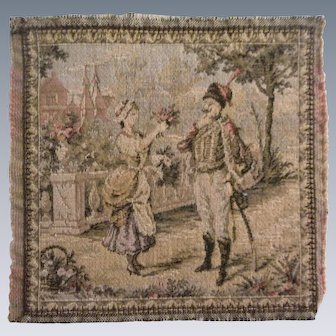 Lovely Antique French Tapestry Dollhouse Rug with Courting Couple