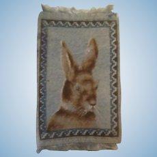 Sweet Bunny Rabbit Antique Tobacco Felt Doll House Rug
