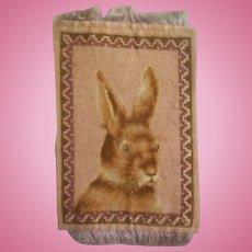 Wonderful Antique Bunny Rabbit Dollhouse Rug c1910