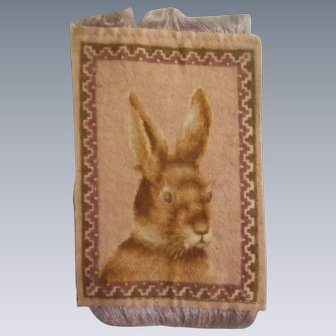 Wonderful Antique Bunny Rabbit Dollhouse Rug c1910