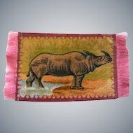 Wonderful Rhinoceros Tobacco Silk Dollhouse Rug - Hard to Find