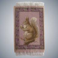 Delightful Antique Squirrel with Acorn Lavender Dollhouse Rug c1910
