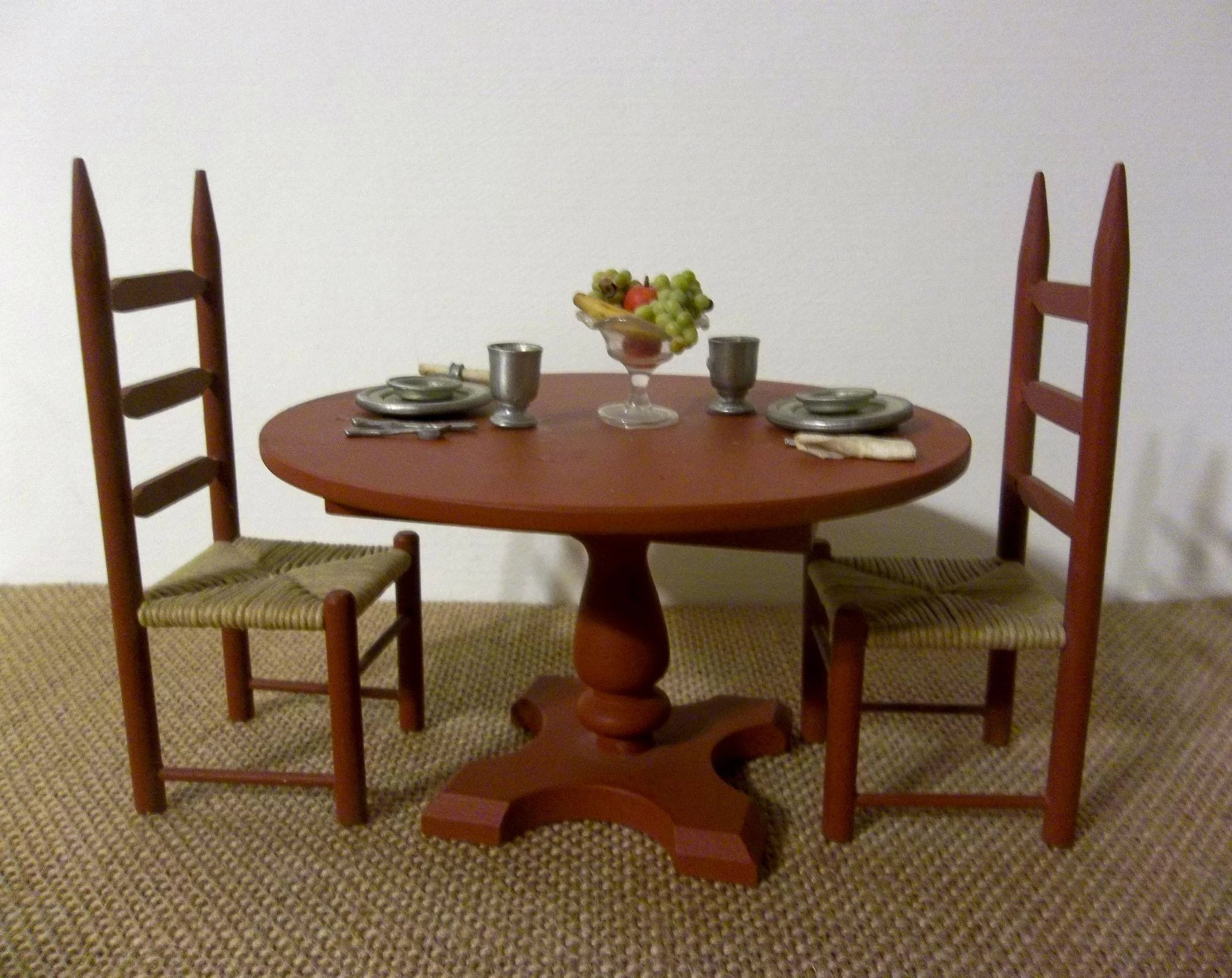 Wonderful Vintage Dollhouse Dining Table And Chair Set With Place