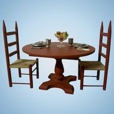 Wonderful Vintage Dollhouse Dining Table and Chair Set with Place Settings and Fruit Bowl