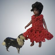"""All Bisque French Lilliputian 2-1/2"""" Mulatto Girl with her Dog - Final Markdown!"""